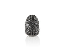 Large Rhodium Plated Sterling Silver Black Spinel Ring