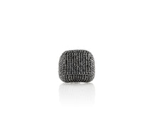 Rhodium Plated Sterling Silver Black Spinel Ring