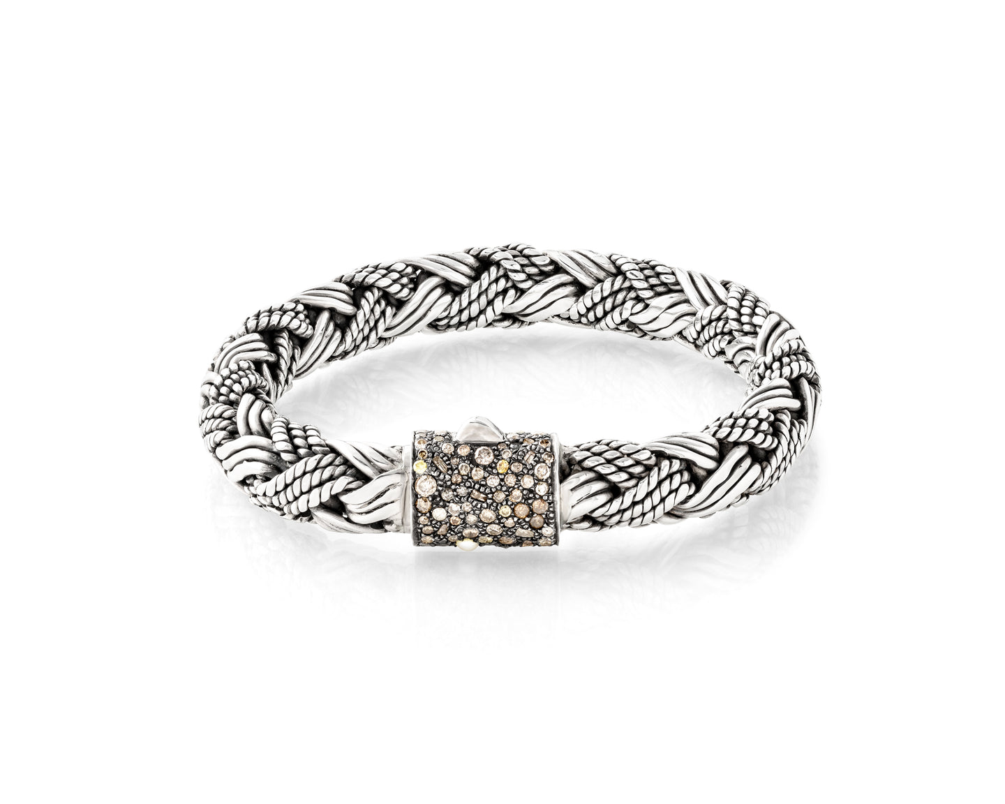 2 86ct Diamond Woven Silver Bracelet Designer Pearl And Leather