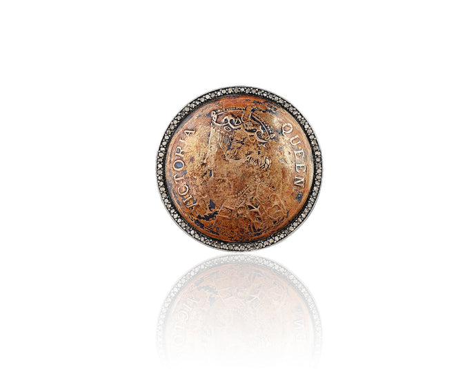Queen Victoria Half Anna Coin Diamond Ring