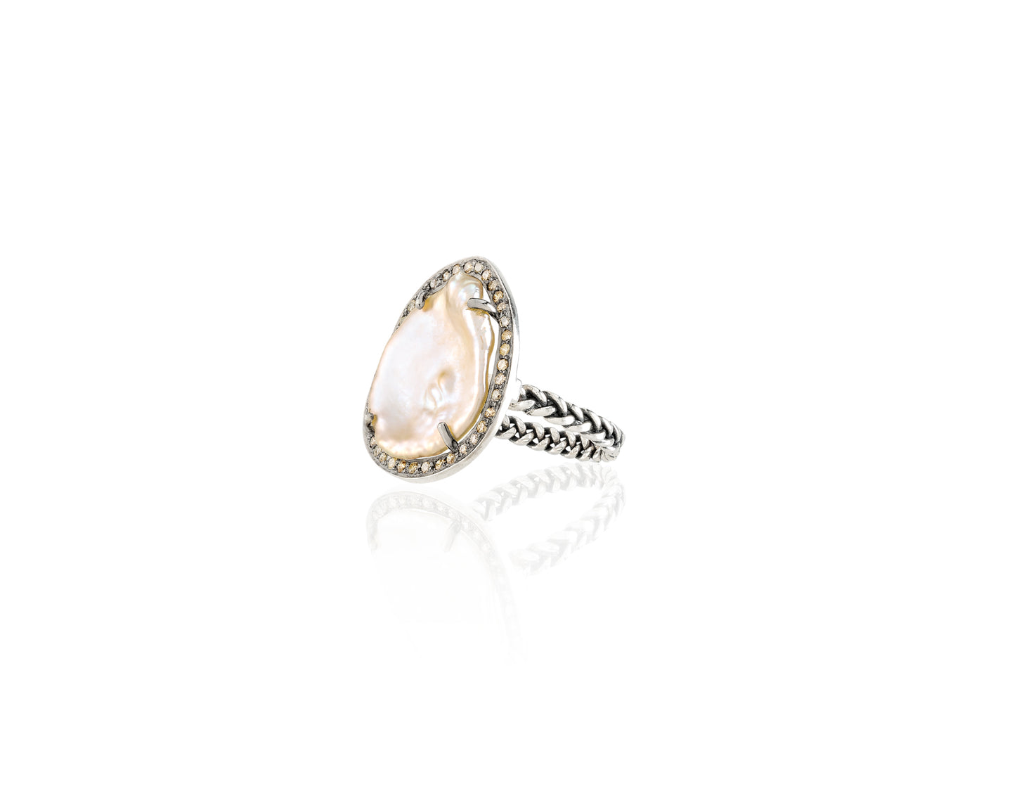 .4ct VP Diamond Freshwater Pearl Ring