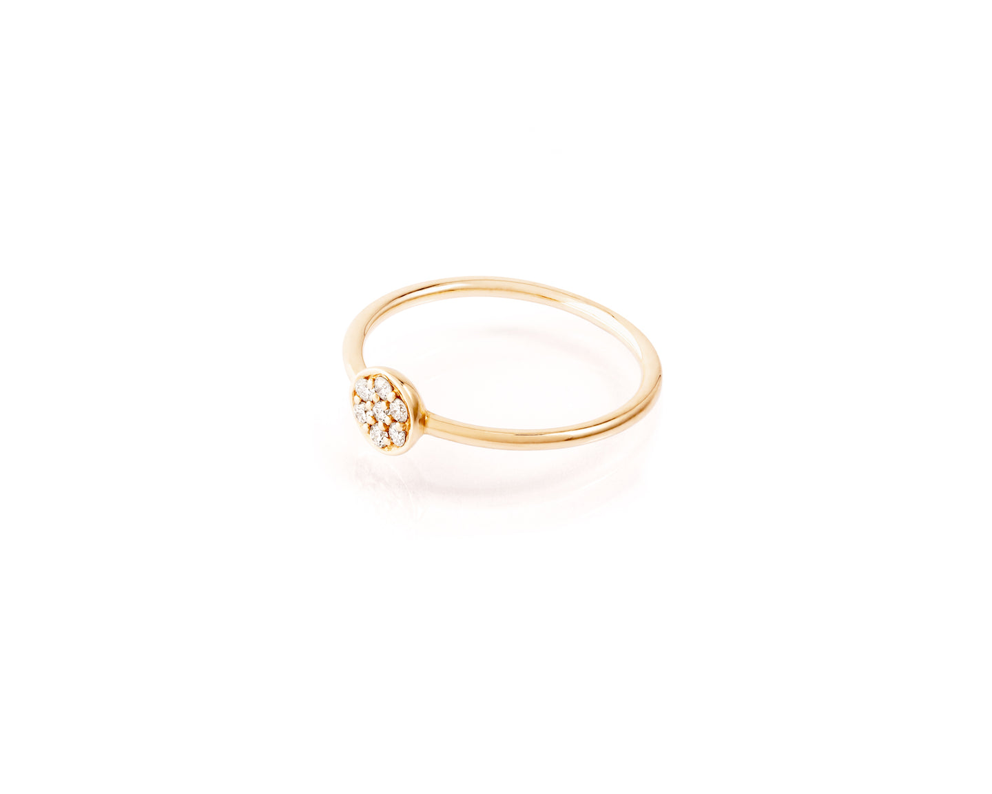 Simple, petit, and refined.  .09ct of round diamonds  14kt gold band (shown size 6, resizable on request.)
