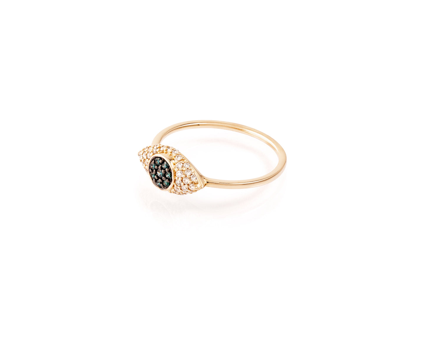 14kt Gold Evil Eye Ring with .21ct of Diamonds