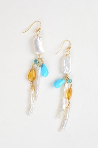 Turquoise and Quartz Earrings - Hottest Designer Pearl and Leather Jewelry | VINCENT PEACH