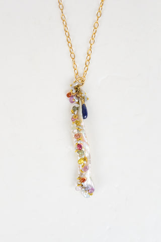 Sapphire Pendant Necklace - Hottest Designer Pearl and Leather Jewelry | VINCENT PEACH