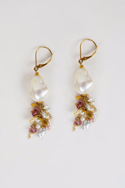 Baroque and Tourmaline Earrings - Hottest Designer Pearl and Leather Jewelry | VINCENT PEACH