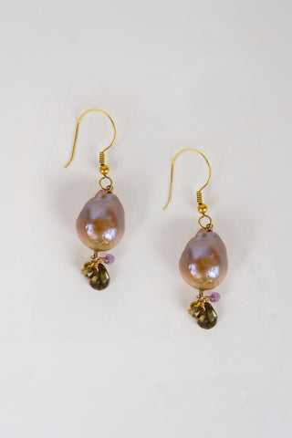 Pink Baroque Drop Earrings - Hottest Designer Pearl and Leather Jewelry | VINCENT PEACH