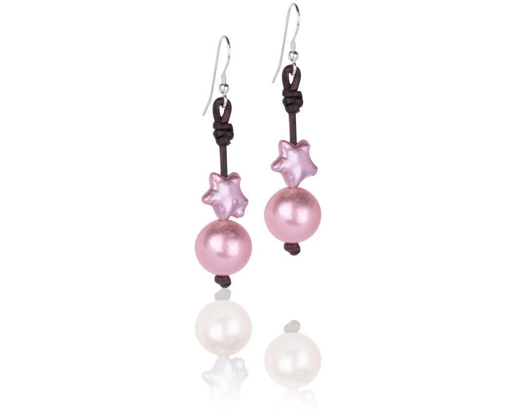 pink freshwater star shaped pearl and leather earrings