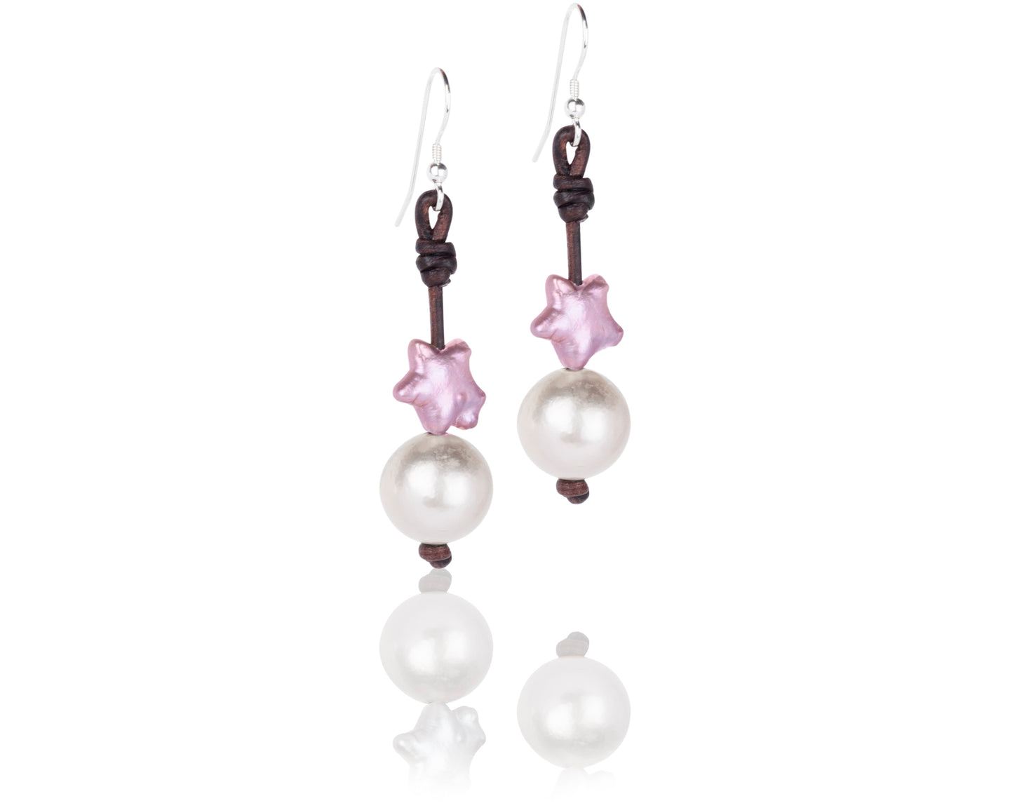 Pink and White Freshwater Pearl and Leather handmade earrings