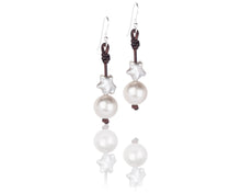 white freshwater star shaped pearl and leather handmade earrings
