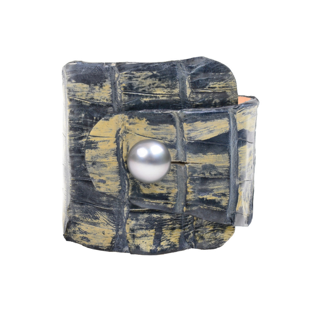 Denim Croc Cuff - Hottest Designer Pearl and Leather Jewelry | VINCENT PEACH