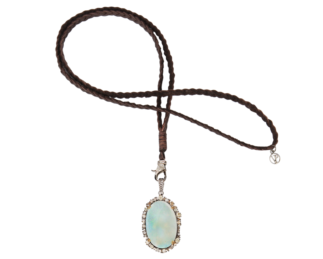 Precious Opal Diamond Pendant Necklace