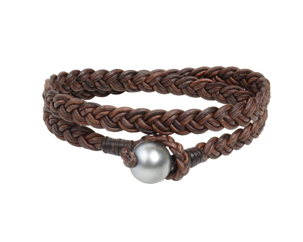 Double Wrap Flat Braid Bracelet | Tahitian