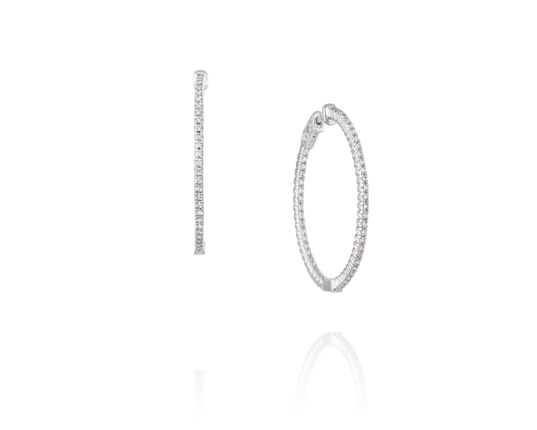 .8ct Diamond, 14k White Gold Hoop Earrings