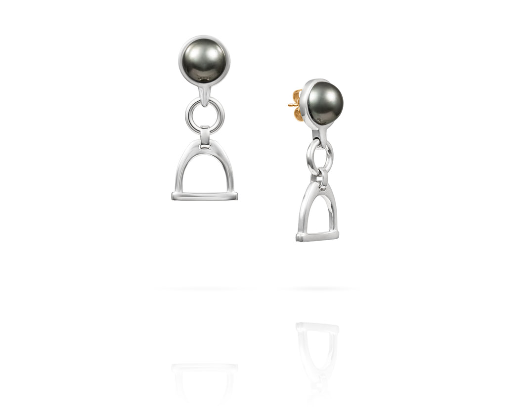 Stirrup Bit Tahitian Drop Earrings