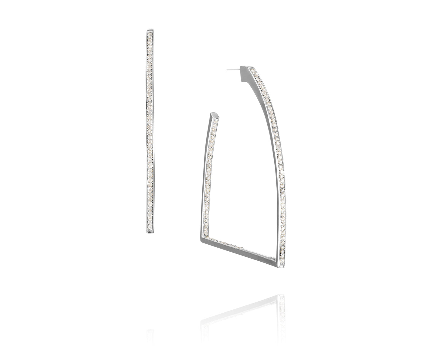 1.86ct Sterling Silver Stirrup Hoop Earrings
