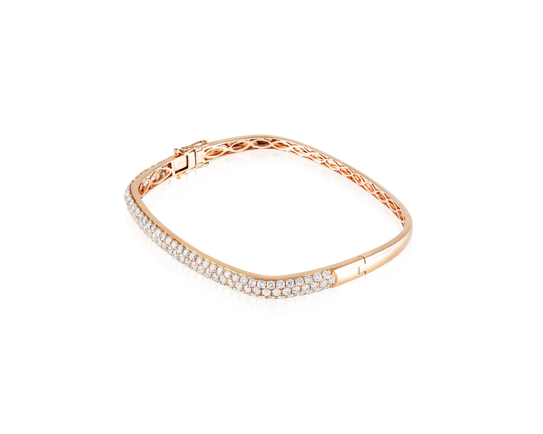 Square 18kt Rose Gold Bangle with 3.16ct of Round White Diamonds