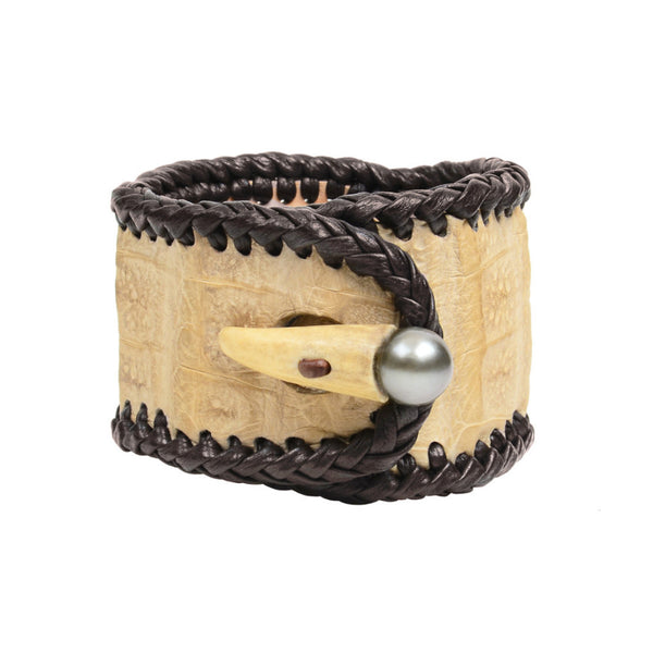 Elk Spanish Croc Cuff - Hottest Designer Pearl and Leather Jewelry | VINCENT PEACH