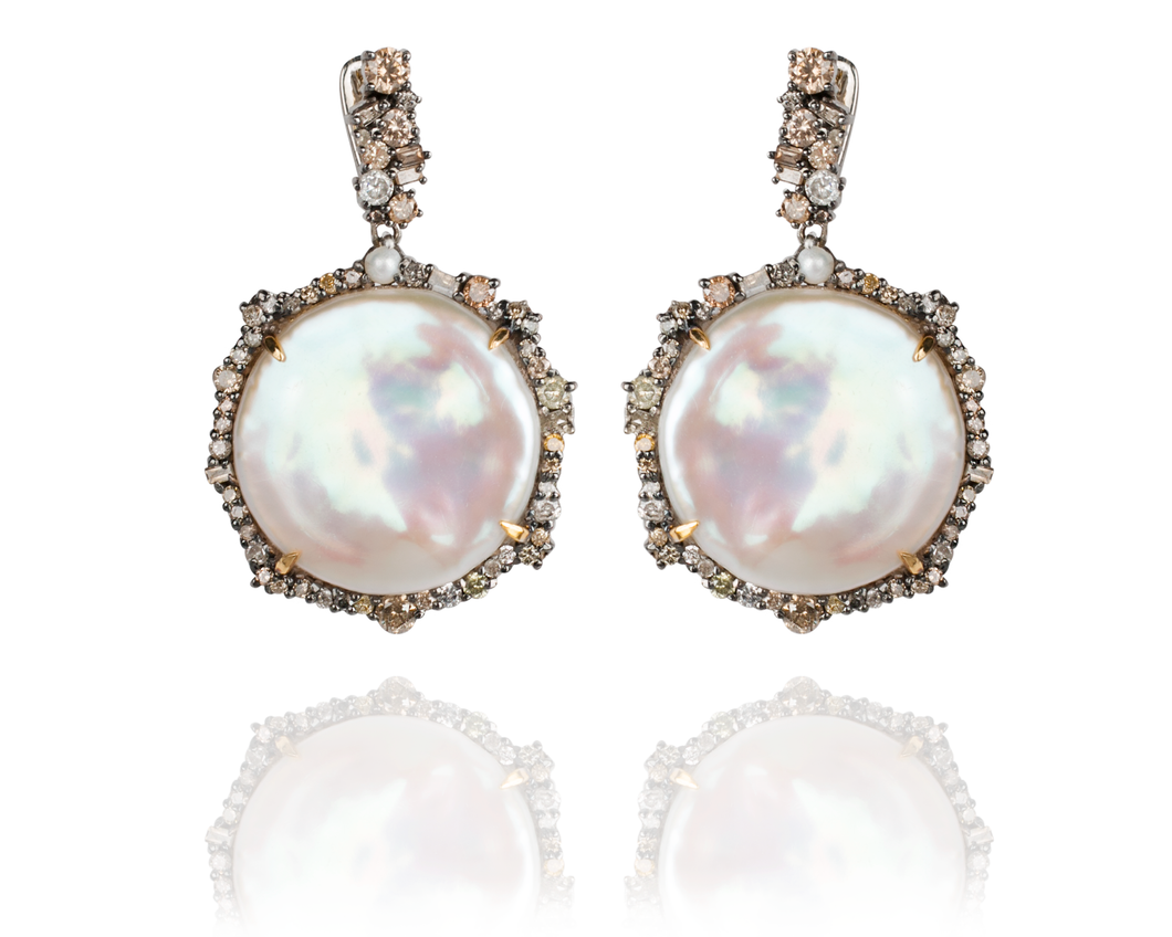 Episodic Diamond Coin Pearl Earrings