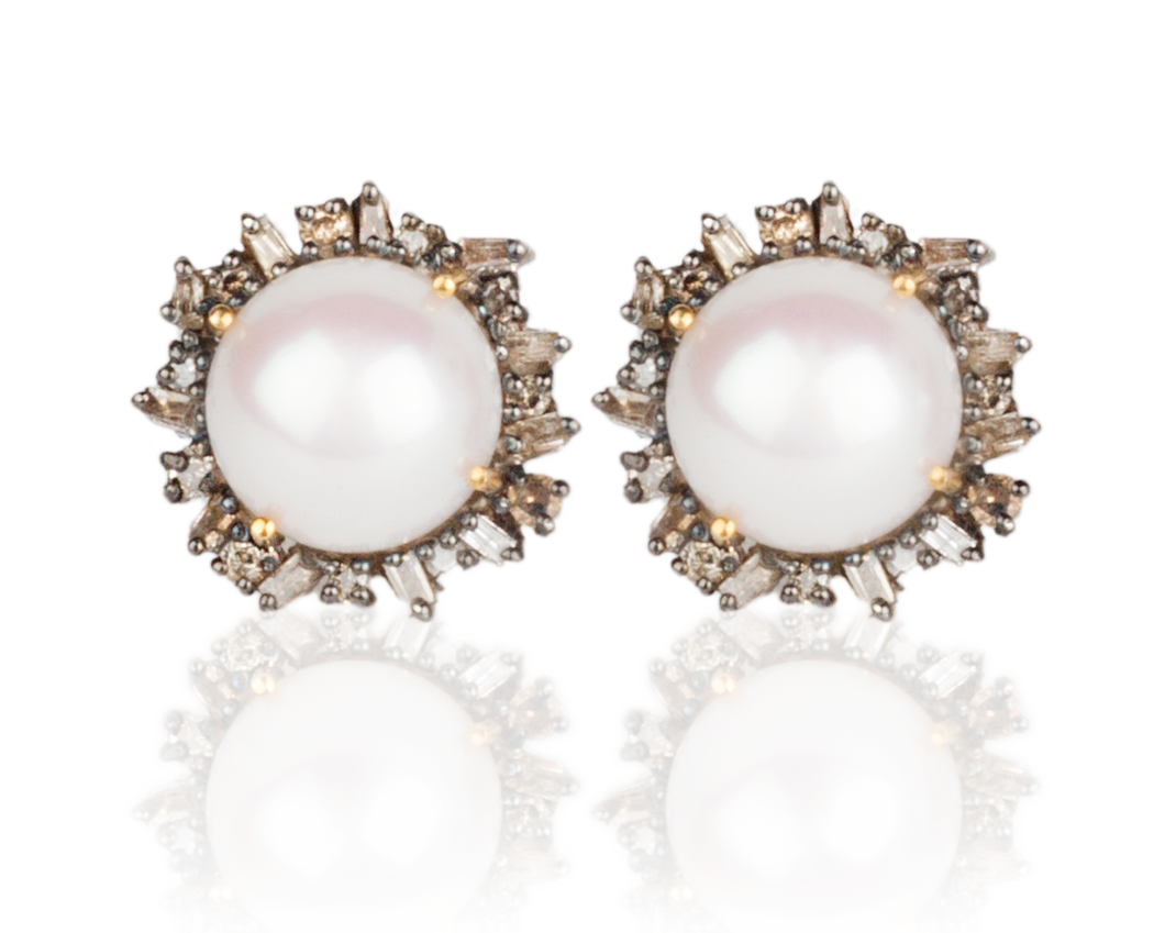 champagne and brown colored diamond and pearl earrings with 14 kt gold post by Vincent Peach Fine Jewelry