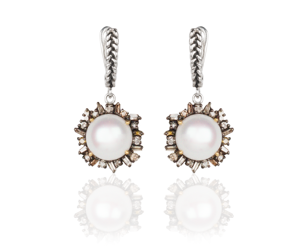 Vincent Peach Episodic Diamond setting Freshwater Pearl Fine Jewelry Earrings