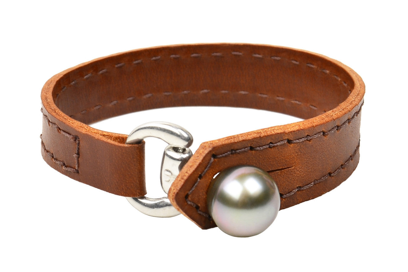 Equestrian Bracelet, Light Brown - Hottest Designer Pearl and Leather Jewelry | VINCENT PEACH