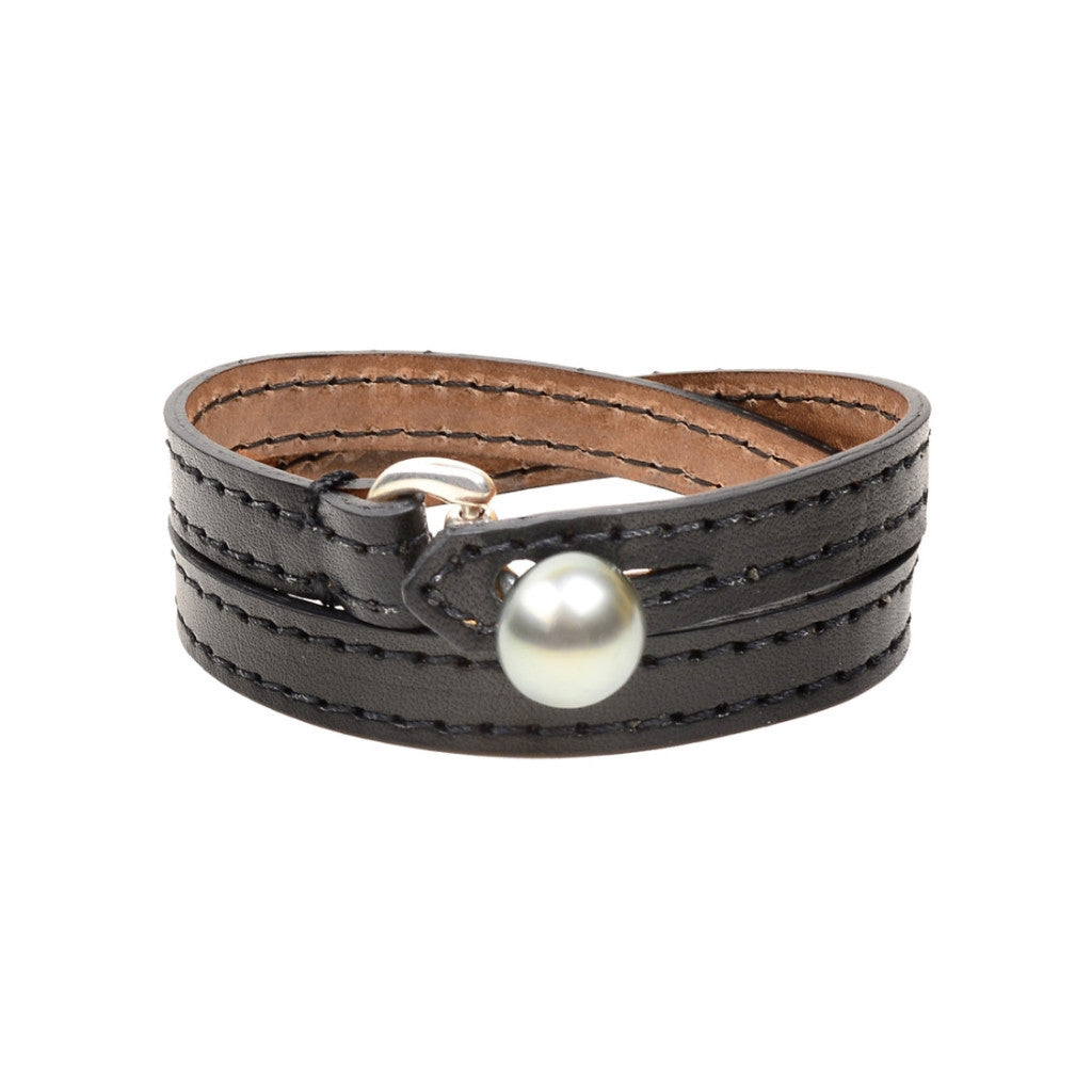 Equestrian Double Wrap, Black - Hottest Designer Pearl and Leather Jewelry | VINCENT PEACH