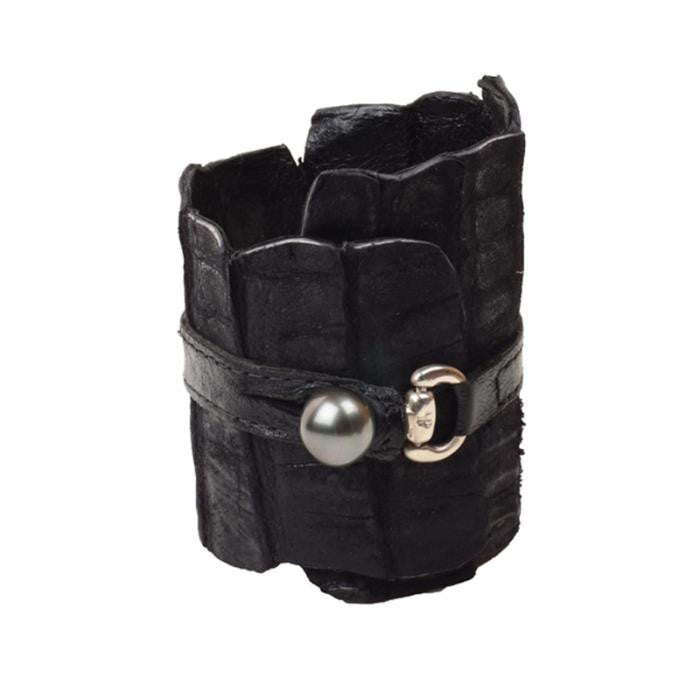 Equestrian Cuff, Black - Hottest Designer Pearl and Leather Jewelry | VINCENT PEACH