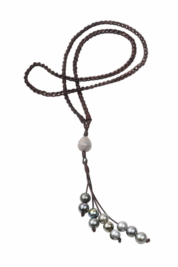 Diamond Eternity Necklace, Tahitian - Hottest Designer Pearl and Leather Jewelry | VINCENT PEACH  - 2