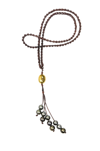 Eternity Necklace, Gold and Tahitian - Hottest Designer Pearl and Leather Jewelry | VINCENT PEACH