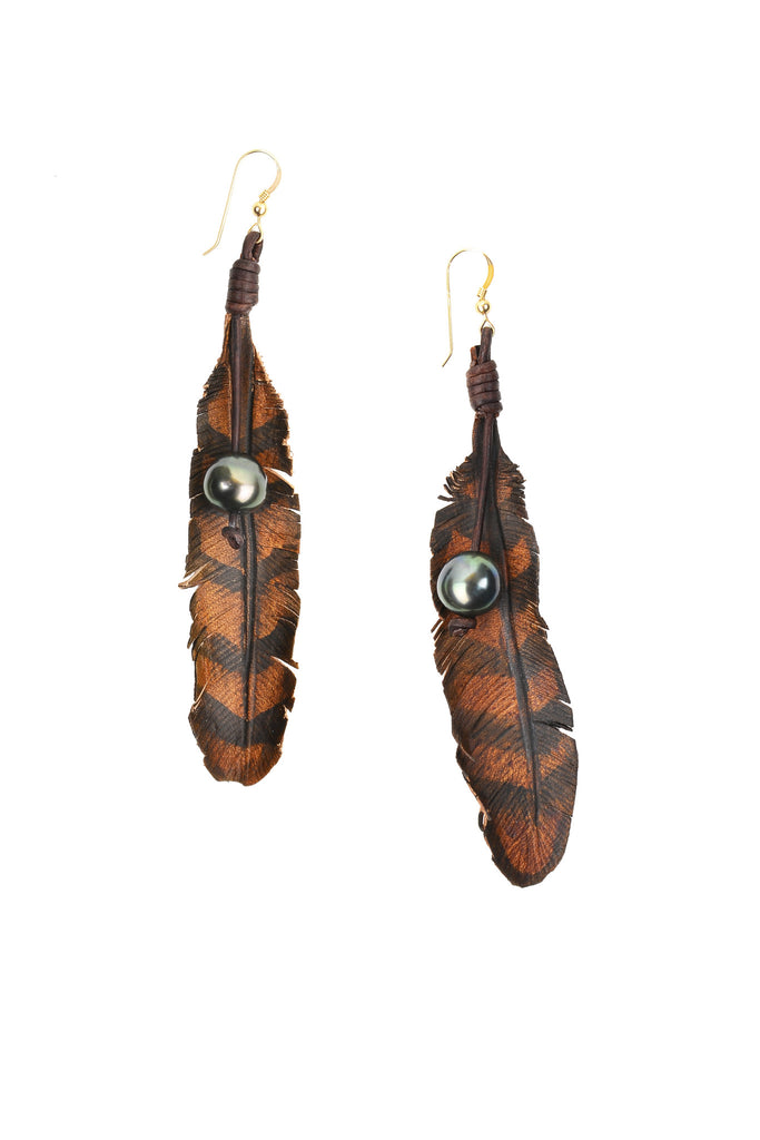 Leather Feather Earrings - Hottest Designer Pearl and Leather Jewelry | VINCENT PEACH