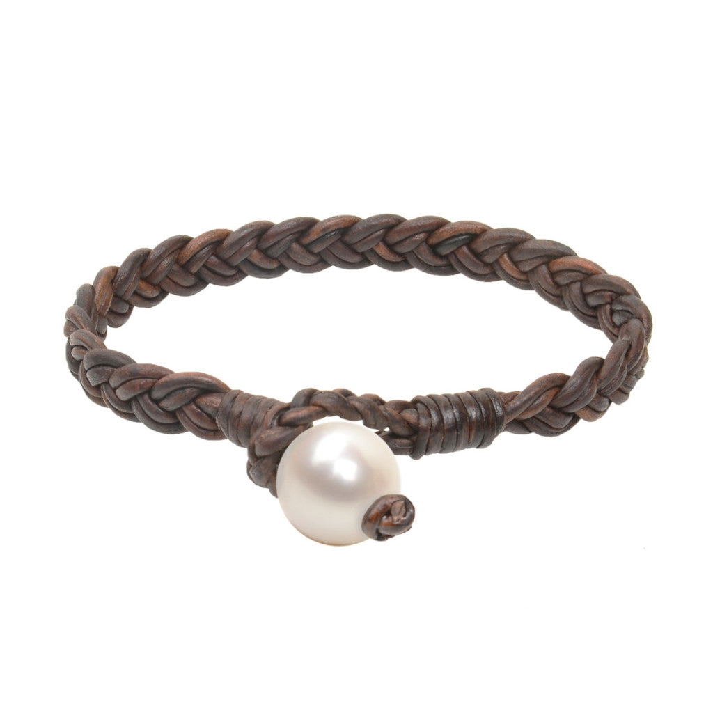 Flat Braid Bracelet, Freshwater - Hottest Designer Pearl and Leather Jewelry | VINCENT PEACH