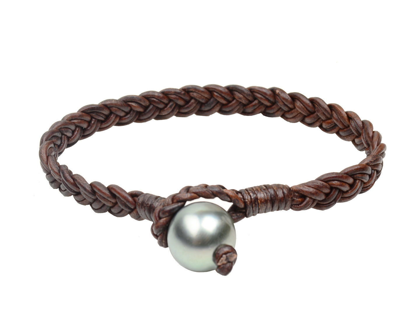 Flat Braid Bracelet Tahitian Designer Pearl And Leather