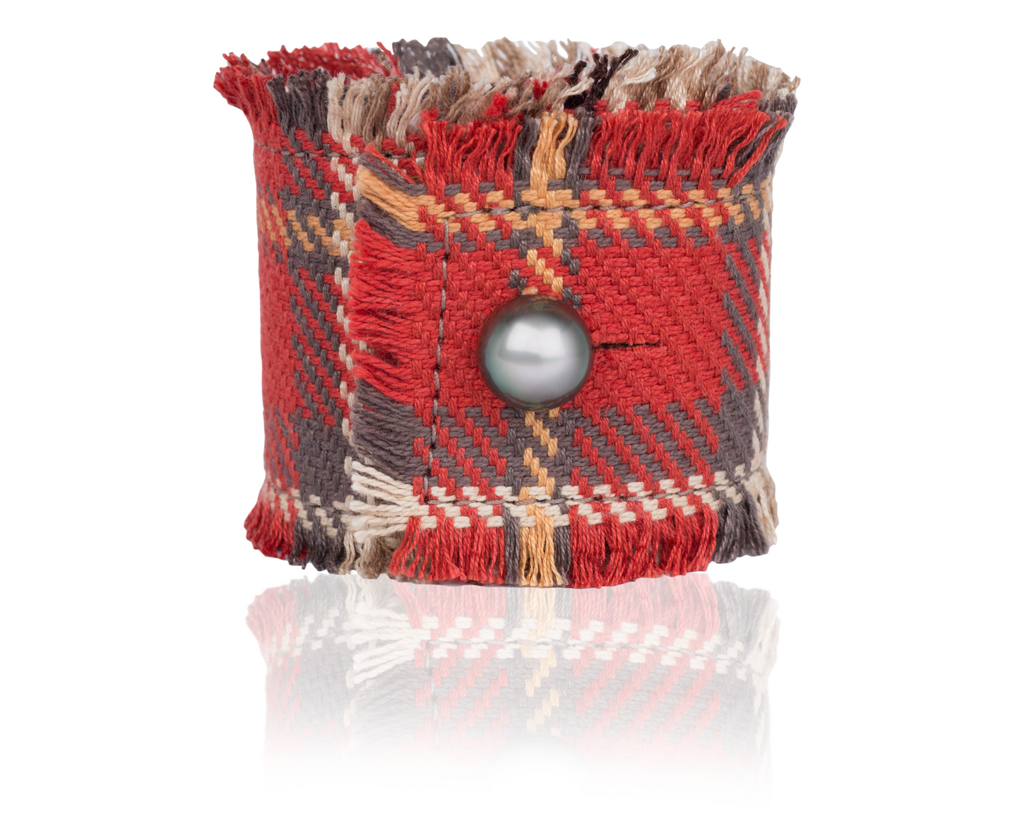 Red Plaid Fringe Fox Hunt Cuff handmade by Vincent Peach Fine Jewelry - Great Fall Style