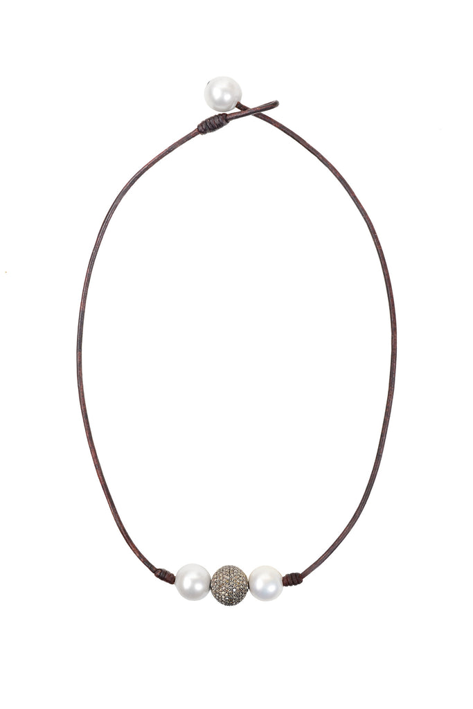 Pavé in a Pod Choker - Hottest Designer Pearl and Leather Jewelry | VINCENT PEACH  - 1