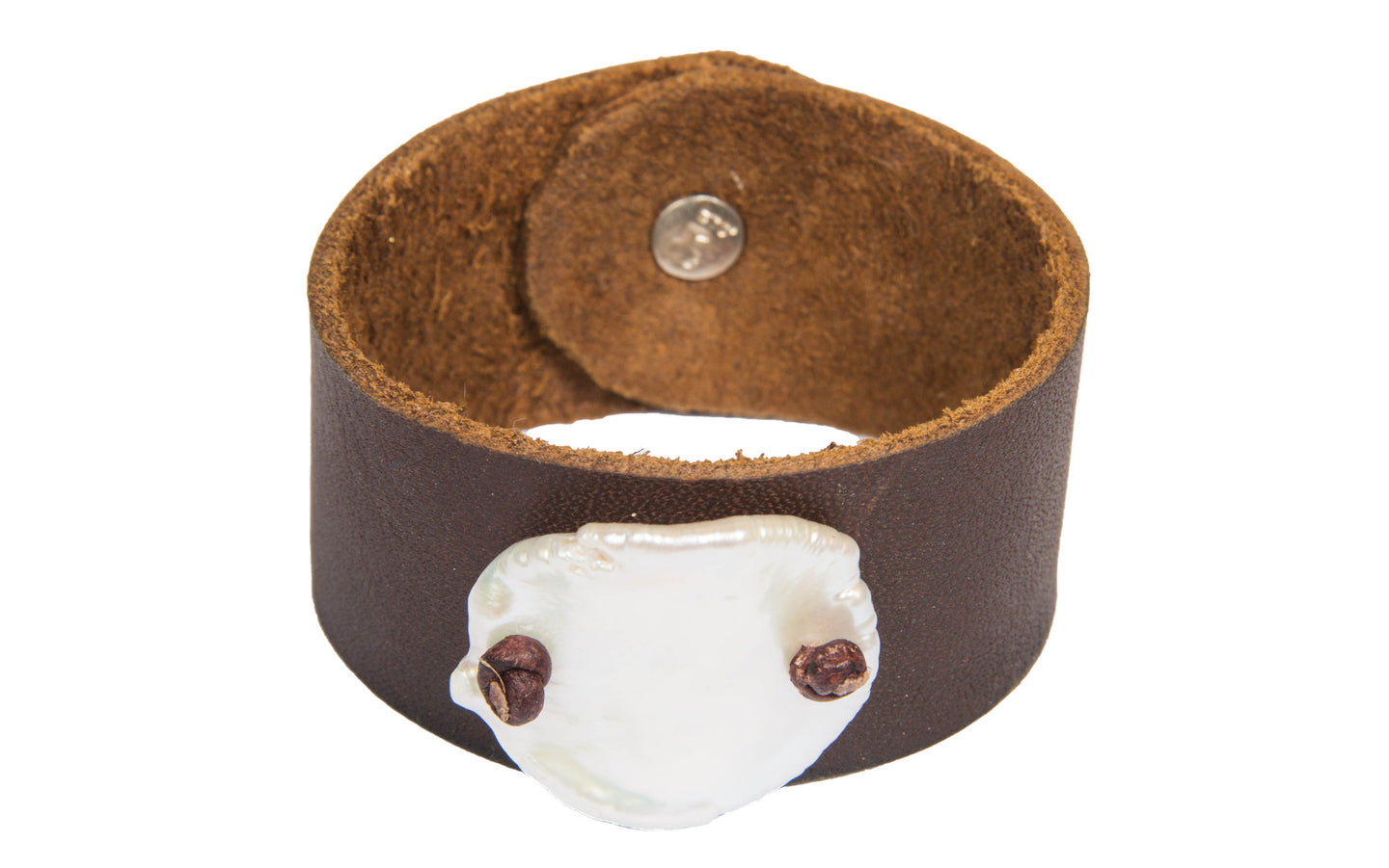 Freshwater Coin Cuff - Hottest Designer Pearl and Leather Jewelry | VINCENT PEACH  - 1