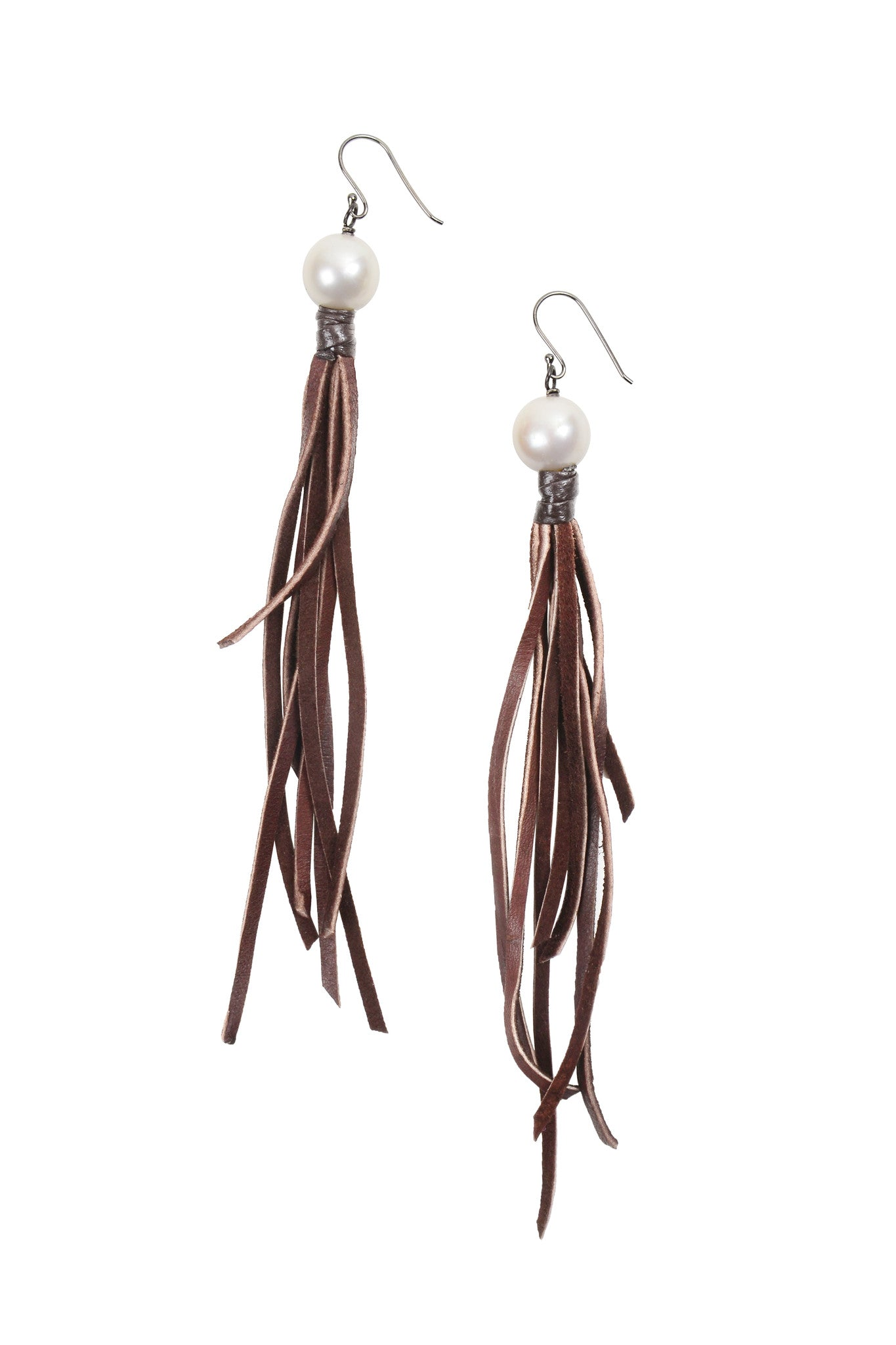 Tassel Earrings - Hottest Designer Pearl and Leather Jewelry | VINCENT PEACH  - 2