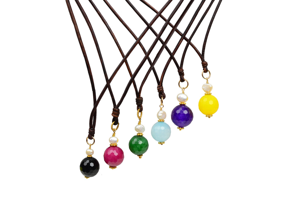 Gemstone Charm Necklace - Hottest Designer Pearl and Leather Jewelry | VINCENT PEACH  - 1