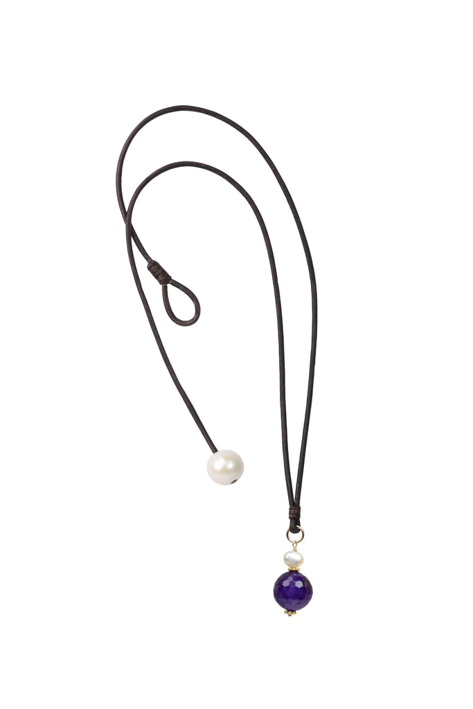 Gemstone Charm Necklace - Hottest Designer Pearl and Leather Jewelry | VINCENT PEACH  - 2