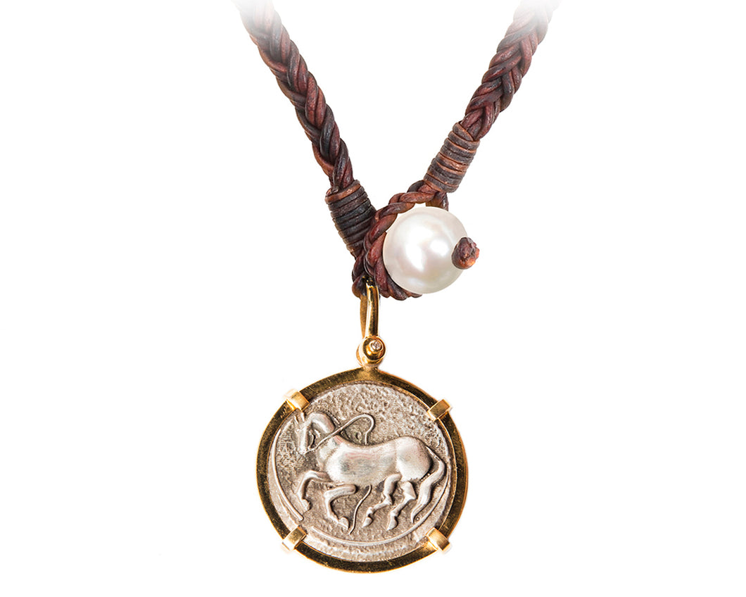 Gold Trojan Coin Necklace