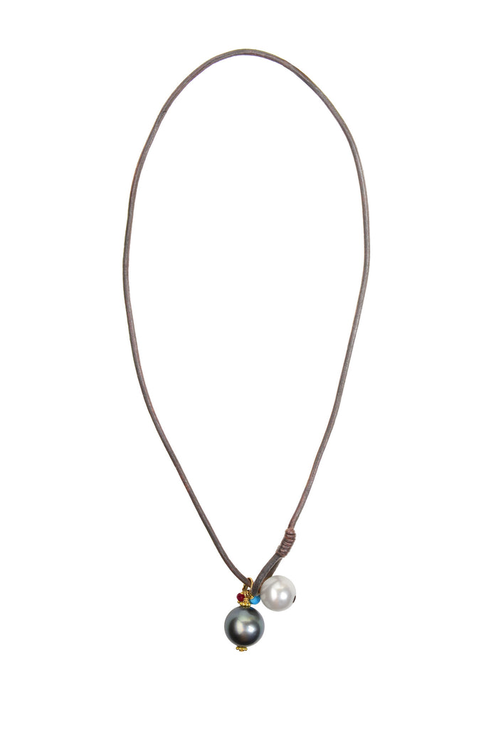 Hemispherian Necklace - Hottest Designer Pearl and Leather Jewelry | VINCENT PEACH  - 2
