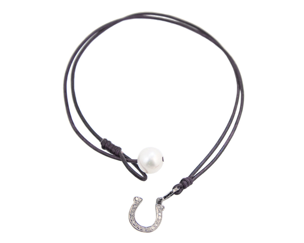Diamond Horseshoe Charm Necklace handmade with brown leather and white freshwater pearl