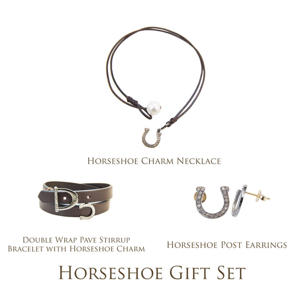 Horseshoe Gift Set - Hottest Designer Pearl and Leather Jewelry | VINCENT PEACH