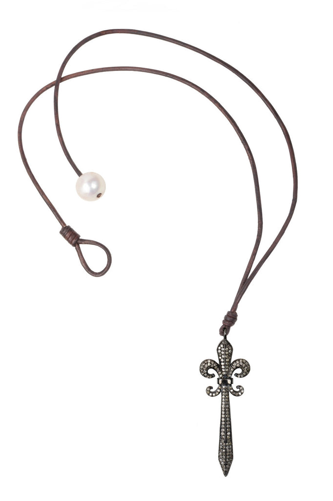 Just Charmed Fleur De Lis Sword Necklace - Hottest Designer Pearl and Leather Jewelry | VINCENT PEACH  - 1