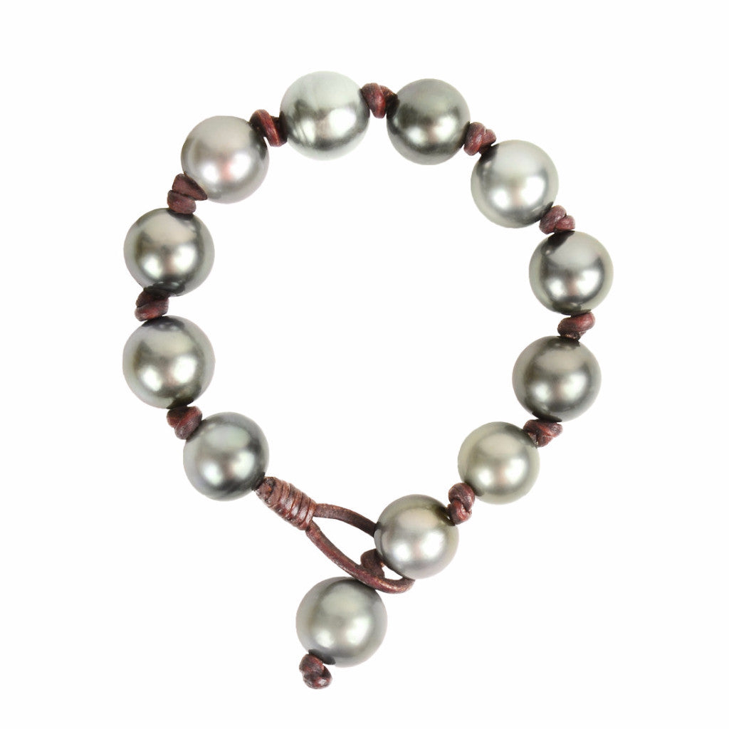 Knotted Tahitian Bracelet - Hottest Designer Pearl and Leather Jewelry | VINCENT PEACH