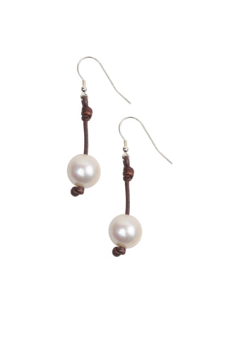 Large Seaplicity Earrings, Freshwater - Hottest Designer Pearl and Leather Jewelry | VINCENT PEACH  - 1