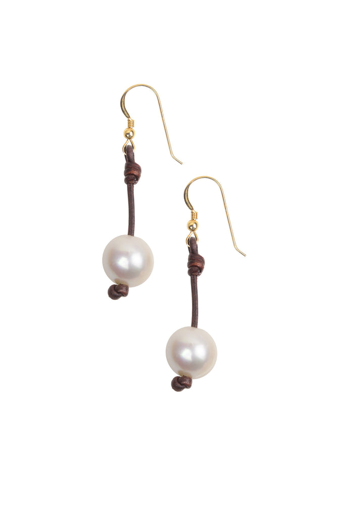 Large Seaplicity Earrings, Freshwater - Hottest Designer Pearl and Leather Jewelry | VINCENT PEACH  - 2
