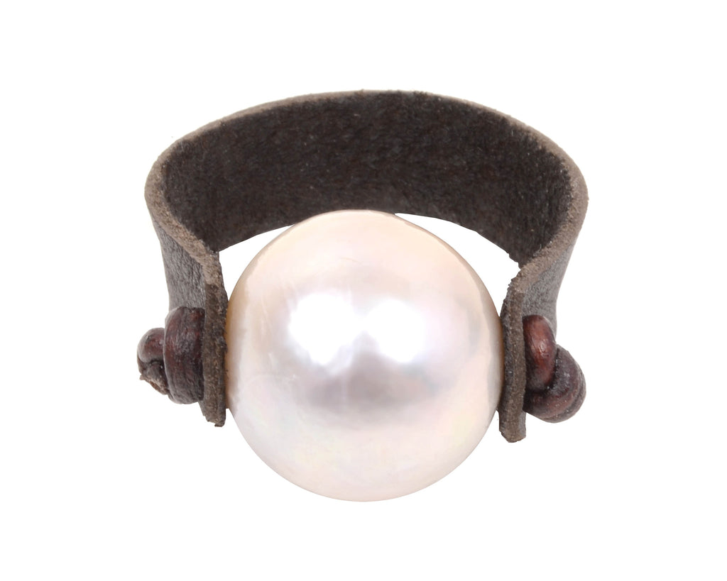 Leather Pearl Ring Designer Pearl And Leather Jewelry