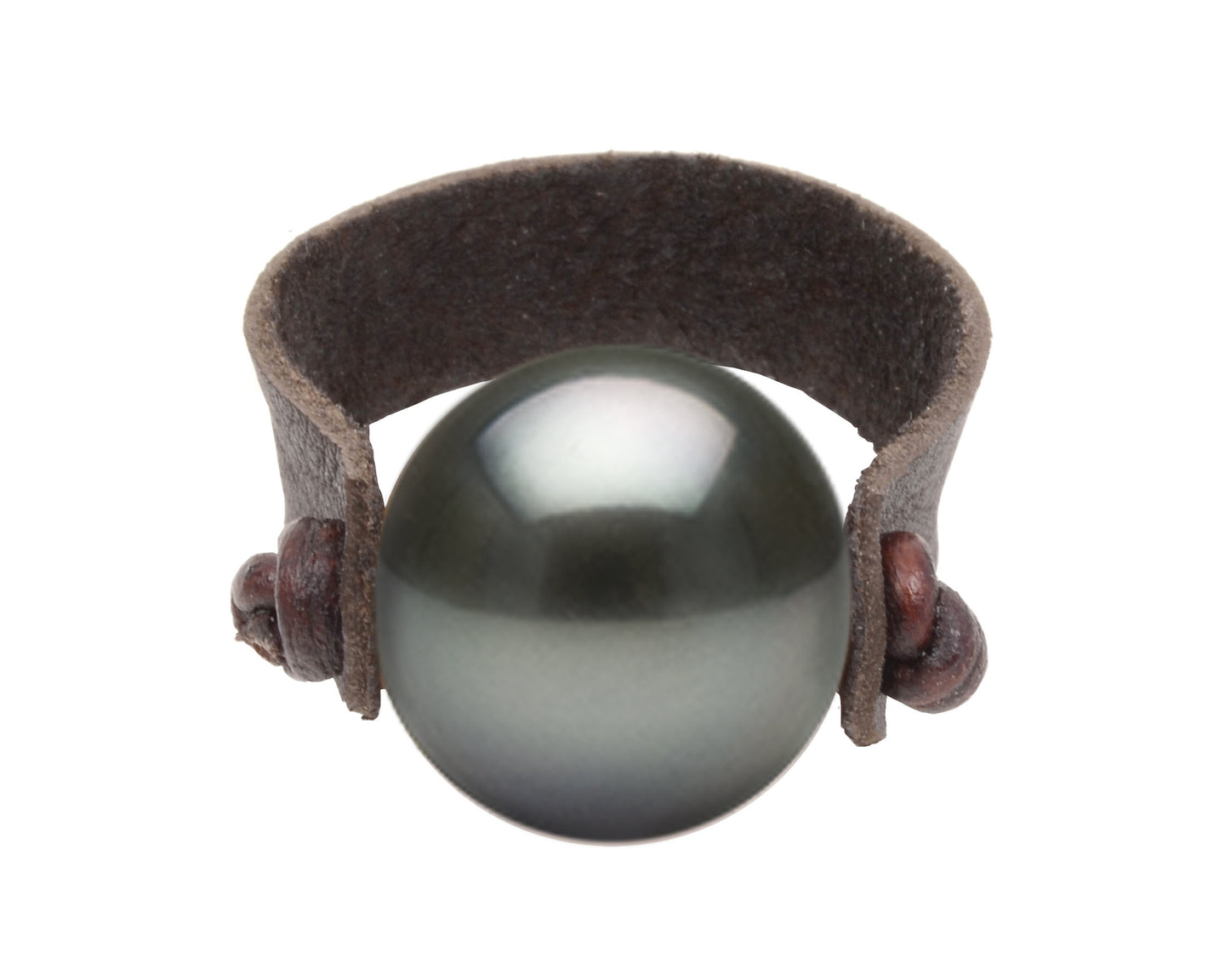 Leather Pearl Ring | Tahitian