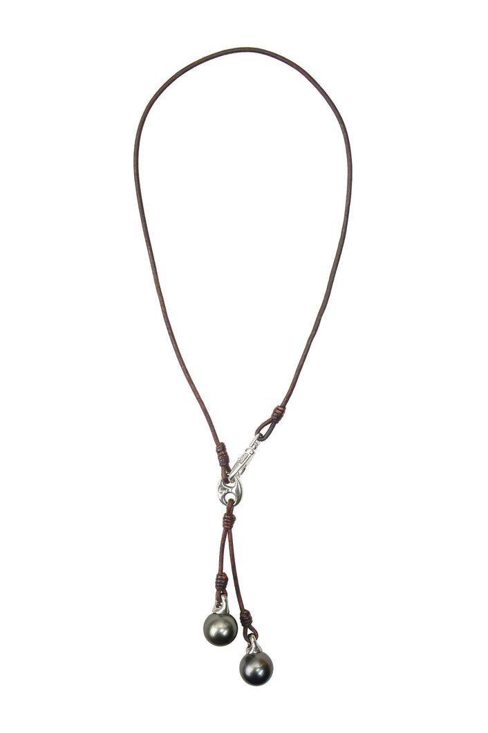 Marina Leather Tassel Necklace - Hottest Designer Pearl and Leather Jewelry | VINCENT PEACH